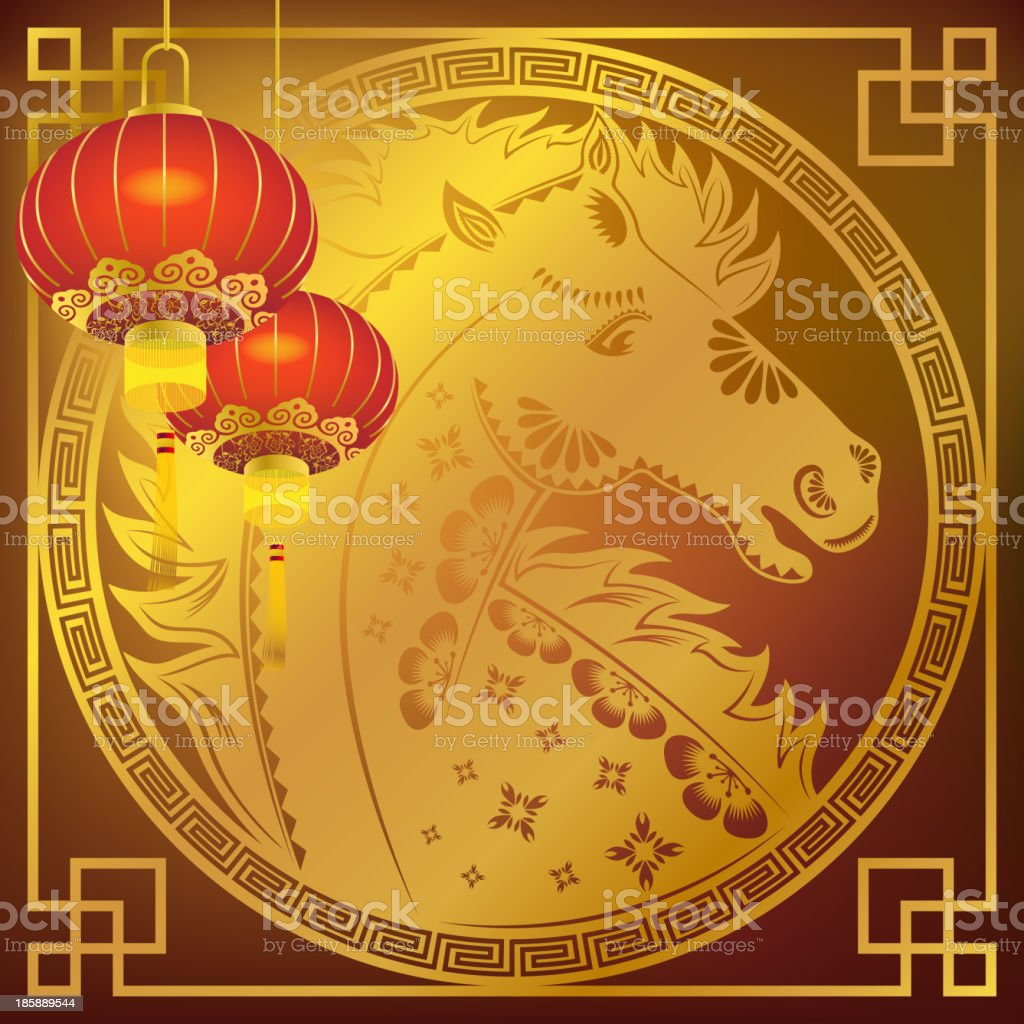 Red Lantern in Chinese Golden Horse Frame Background royalty-free stock vector art