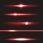 Red horizontal lens flares pack. Laser beams, horizontal light rays. Vector, eps10