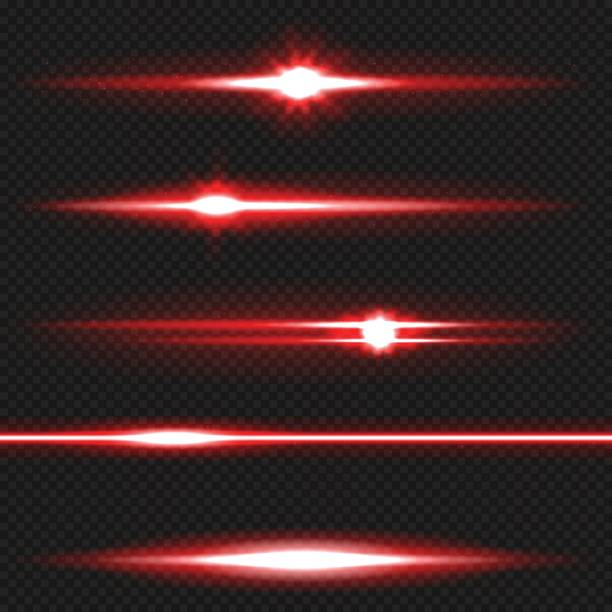 Red laser beams pack Red horizontal lens flares pack. Laser beams, horizontal light rays. Vector, eps10 laser stock illustrations