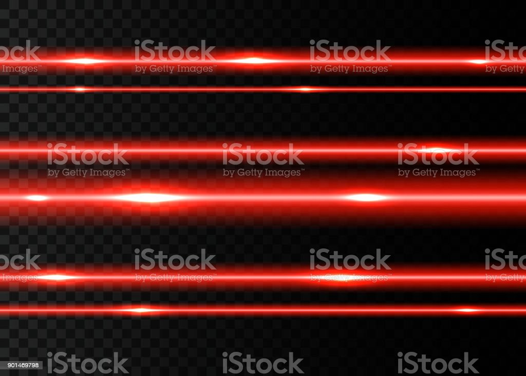 Red laser beams with  flashes of  light. vector art illustration