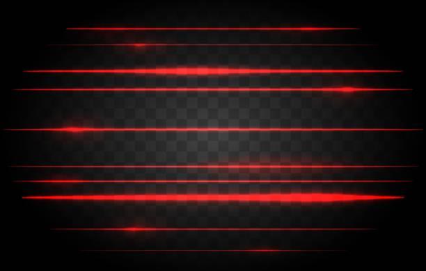 Red laser lights Red laser lights. Vector bright lights of neon or laser, red lamp light graphic effect laser stock illustrations