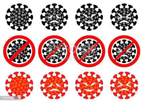 istock red laughing coronavirus image.white background. 1217597119