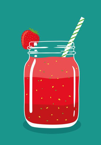 illustrazioni stock, clip art, cartoni animati e icone di tendenza di red layered berry smoothie in mason jar with strawberry and swirled straw. vector hand drawn illustration. - fruit juice bottle isolated