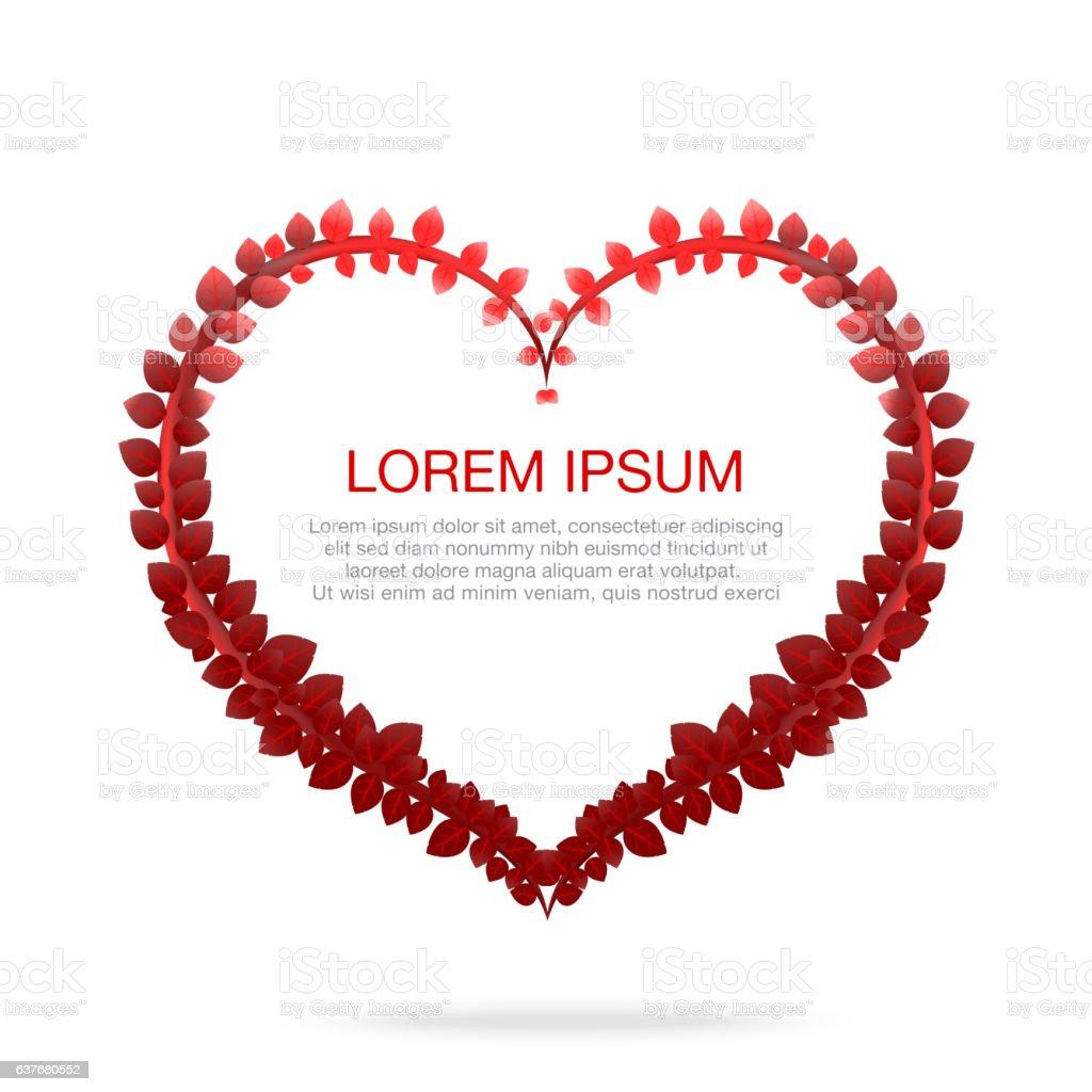 Red leaf heart shape isolated on white background vector illustr vector art illustration