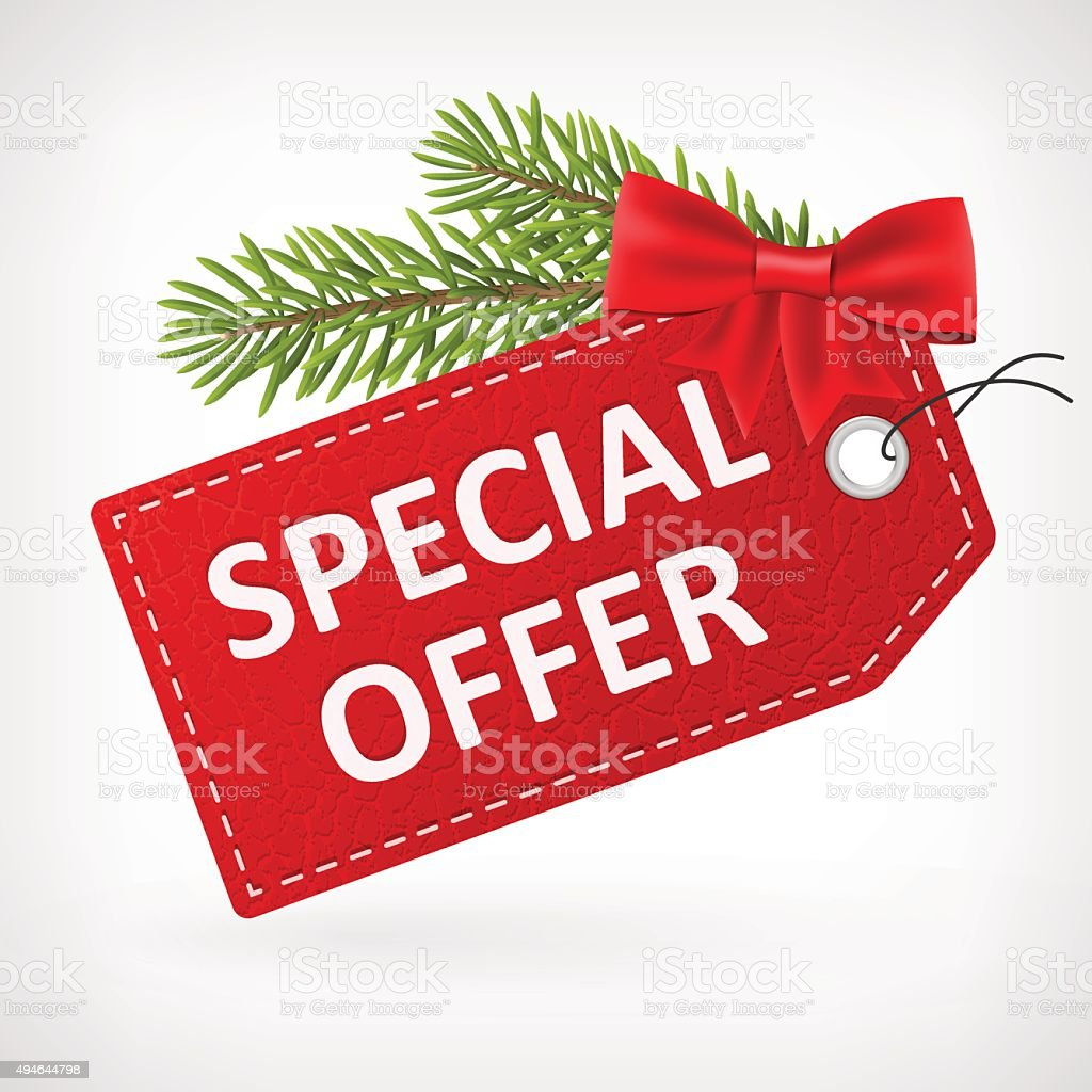 Red leather price christmas labels special offer vector art illustration
