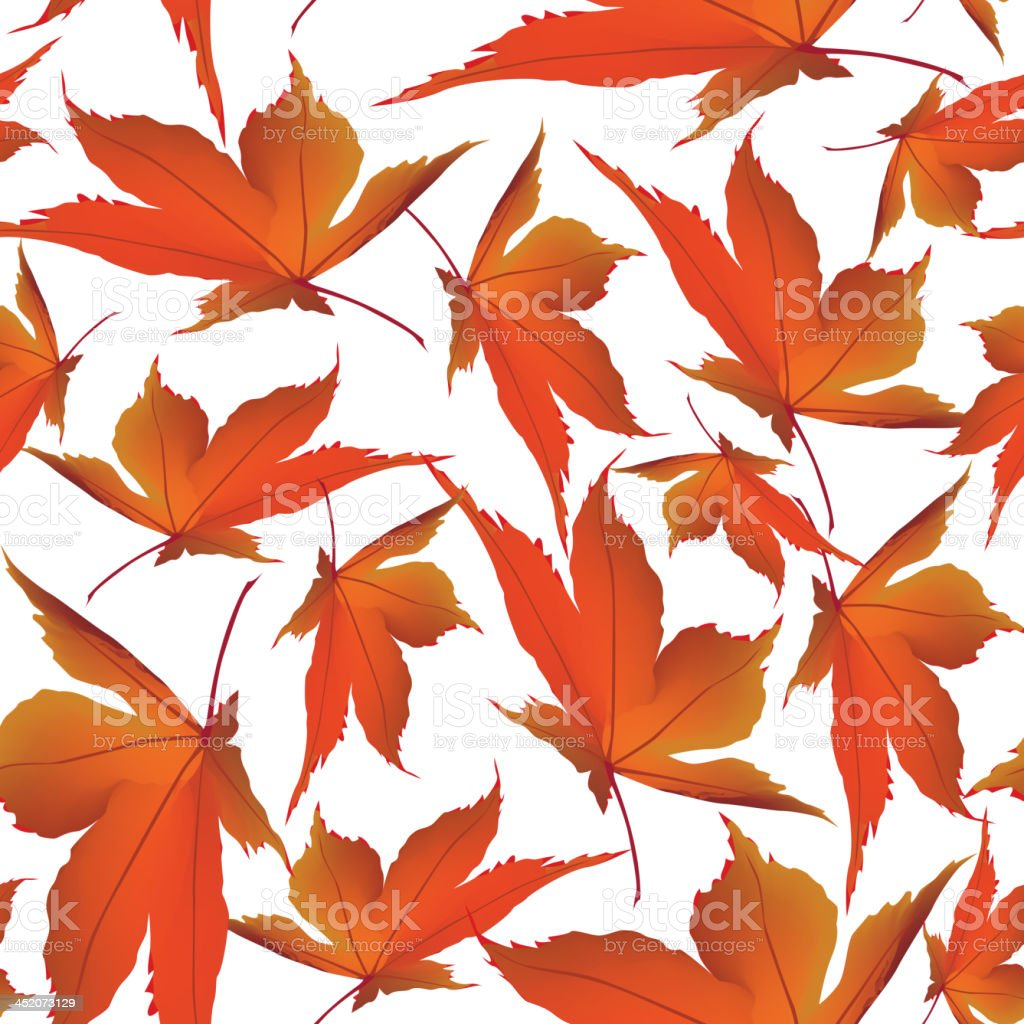 Red leaves seamless floral background royalty-free stock vector art