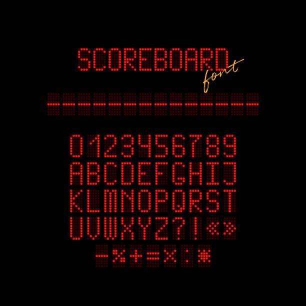 ilustrações de stock, clip art, desenhos animados e ícones de red led scoreboard font. vector realistic letters and numbers made of red led. - led painel