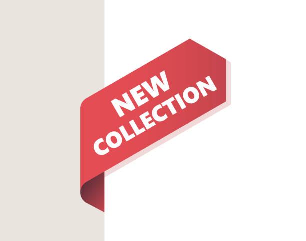 ilustrações de stock, clip art, desenhos animados e ícones de red left tag, ribbon with shadow - new