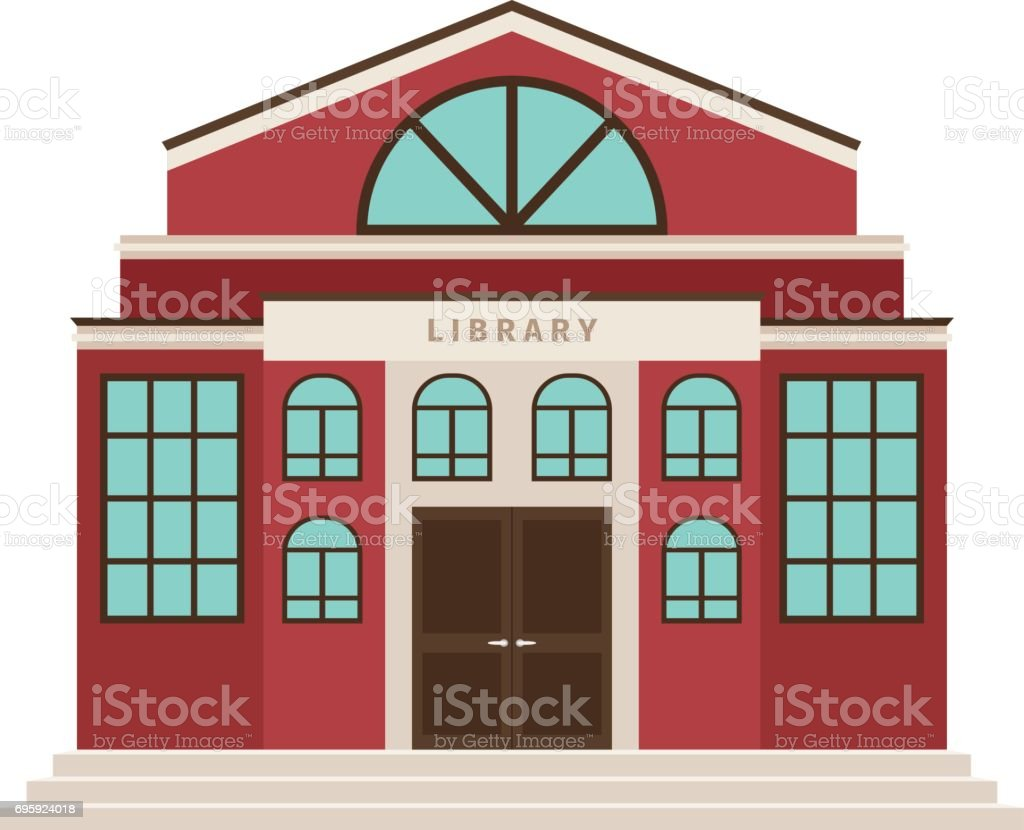Red library cartoon building icon vector art illustration