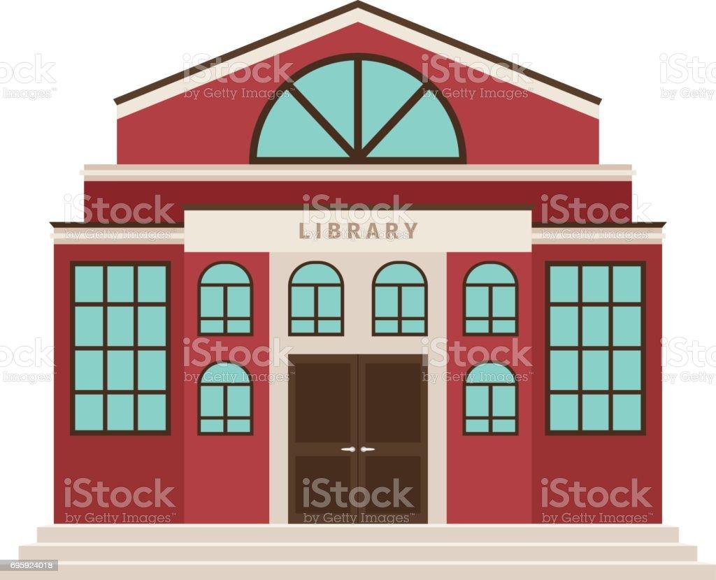 Icono de edificio de biblioteca roja dibujos animados - ilustración de arte vectorial