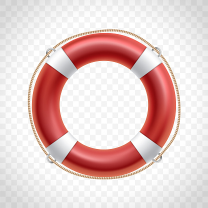 Red life buoy isolated on transparent background.