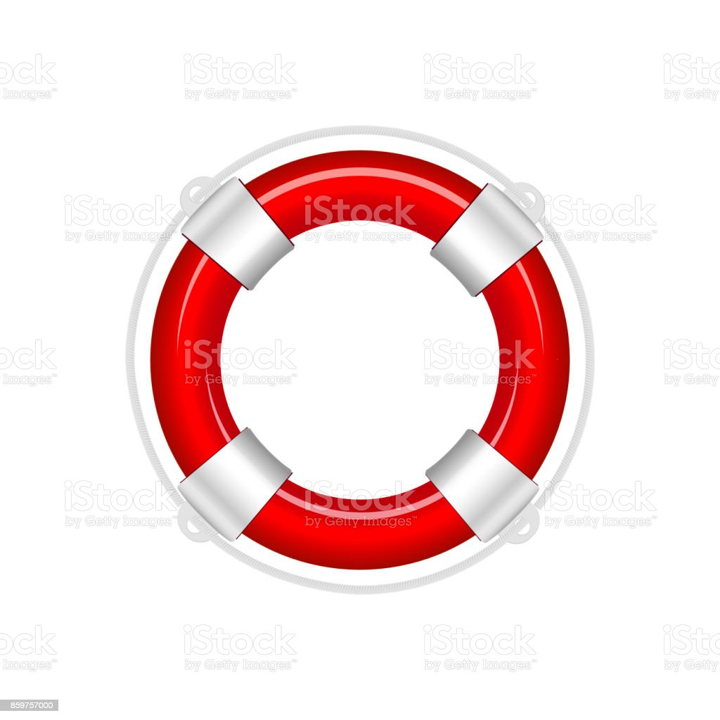 Red life buoy isolated on white background. Vector Illustration vector art illustration
