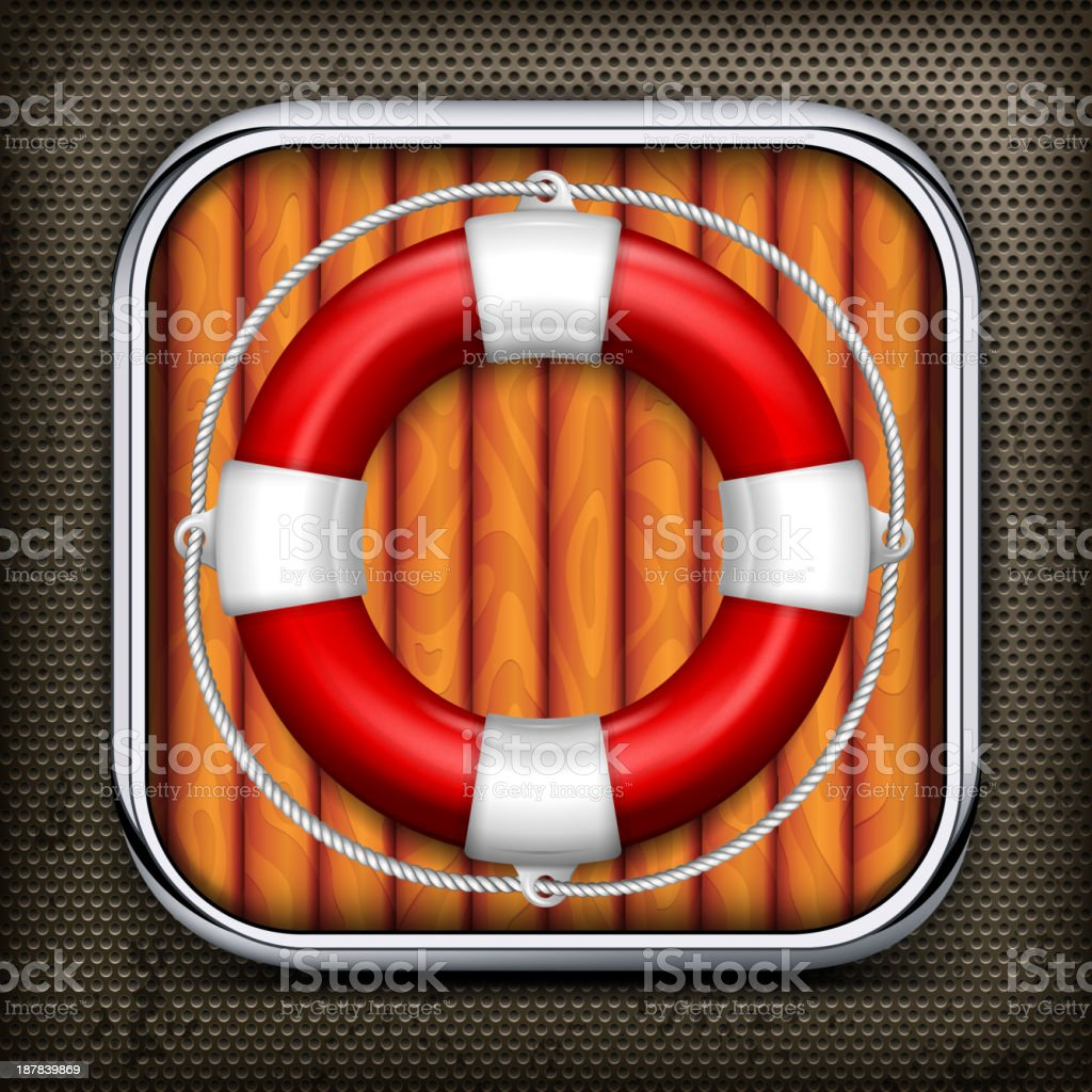 Red life buoy on wooden royalty-free stock vector art