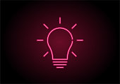 Red Light Bulb Icon Neon Light On Black Wall