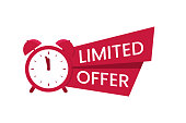 Red limited offer logo, symbol. Promo with clock and banner. Last chance to buy concept. Sale banner, poster. Flat vector illustration.
