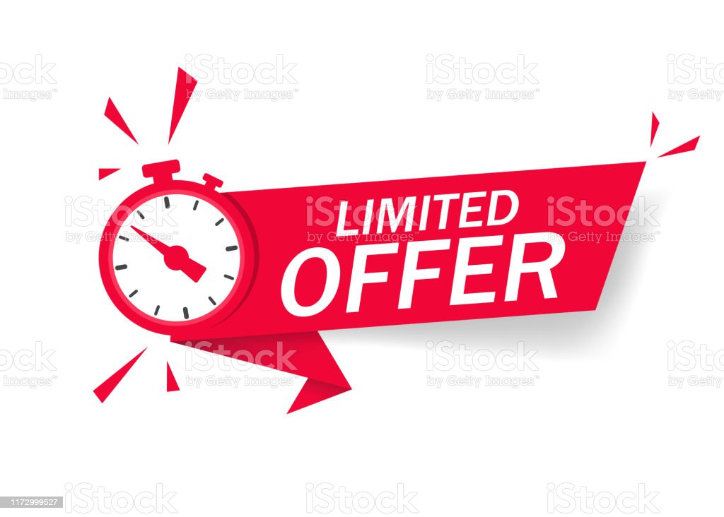 프로모션, 배너, 가격에 대한 시계와 레드 한정 제공. 오퍼 세일 또는 독점 거래에 대한 시간의 레이블 카운트 다운. 고립 된 배경에 기회의 제한된 제공 알람 시계. 벡터 - 로열티 프리 가격 벡터 아트