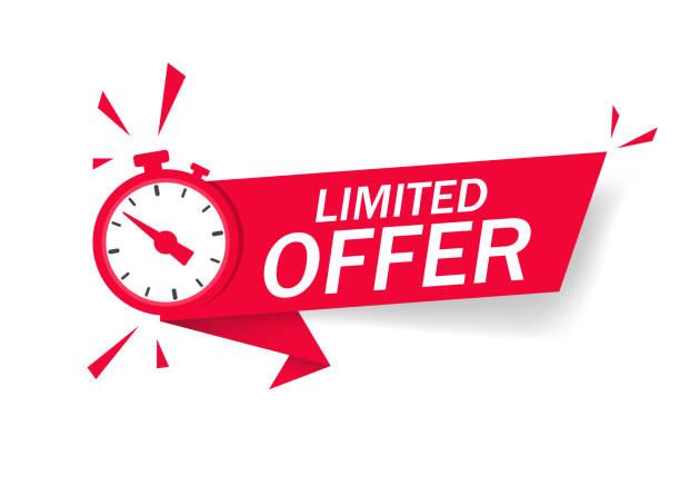 czerwona ograniczona oferta z zegarem na promocję, baner, cena. odliczanie do etykiety czasu na sprzedaż ofert lub ofertę na wyłączność. budzik z ograniczoną ofertą losu na odizolowanym tle. wektor - czas stock illustrations