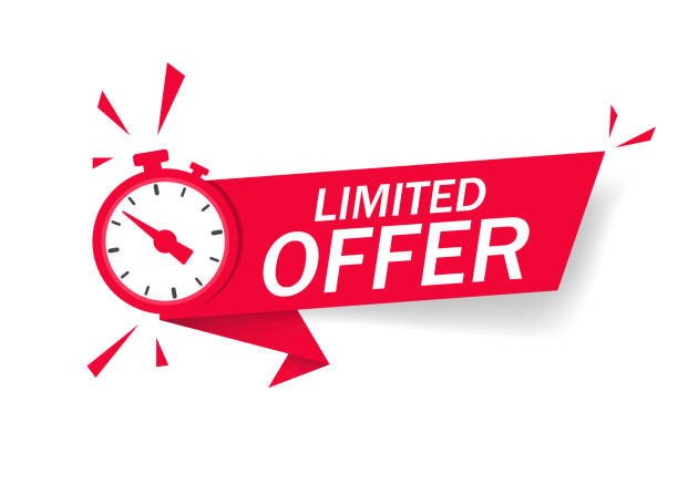 illustrazioni stock, clip art, cartoni animati e icone di tendenza di red limited offer with clock for promotion, banner, price. label countdown of time for offer sale or exclusive deal.alarm clock with limited offer of chance on isolated background. vector - sales