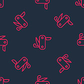istock Red line Swiss army knife icon isolated seamless pattern on black background. Multi-tool, multipurpose penknife. Multifunctional tool. Vector 1341314369