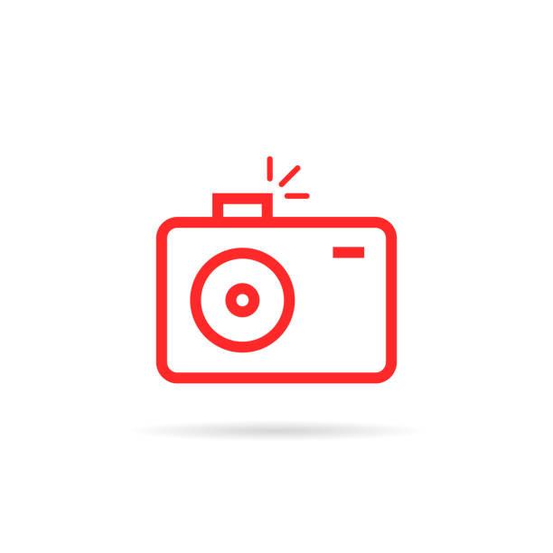ilustraciones, imágenes clip art, dibujos animados e iconos de stock de cámara de fotos simple lineal rojo - zoom call