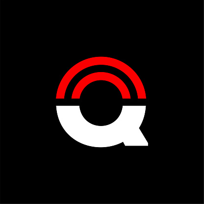 Red Lines Geometric Vector Logo Letter Q