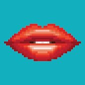 Red lip, Pixel 8 bit, art style, woman mouth design. Vector illustration.
