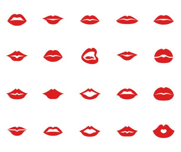 stockillustraties, clipart, cartoons en iconen met rode lippen collectie set - kussen met de mond