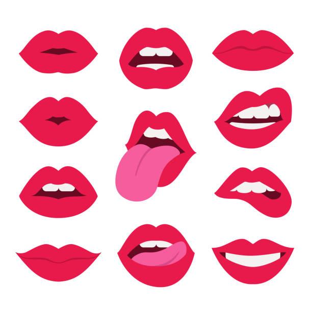 stockillustraties, clipart, cartoons en iconen met rode lippen collectie. - kussen met de mond