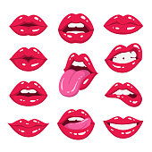 Red lips collection.