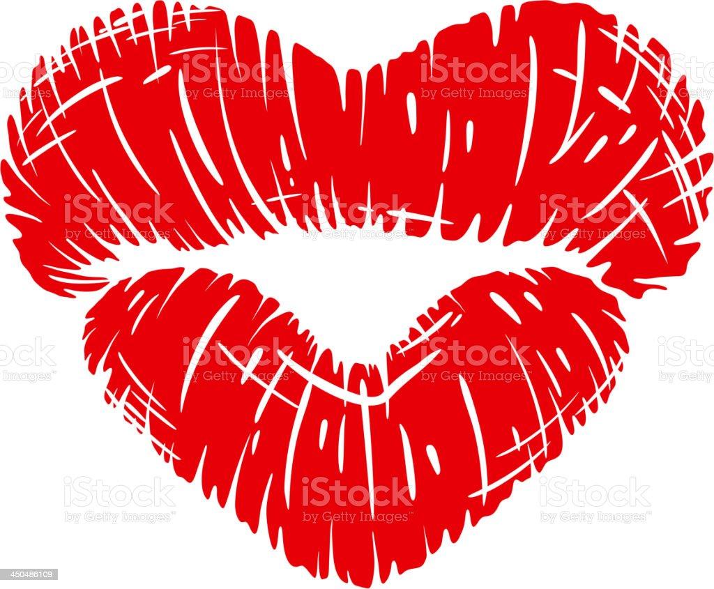 Red lips print in heart shape vector art illustration
