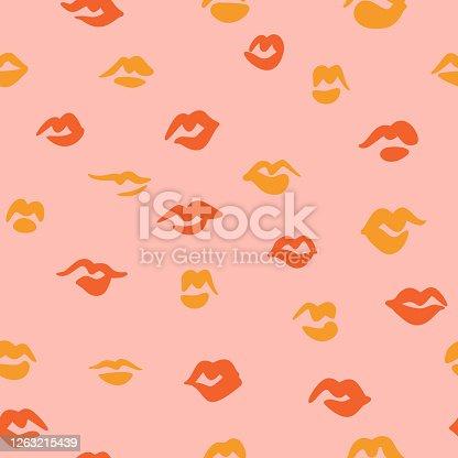 Red lips seamless pattern. Doodle lip kiss background. Retro fashion glamour print.