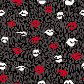Red lips seamless pattern. Doodle lip kiss background. Retro fashion glamour print with spotted leopard skin texture.