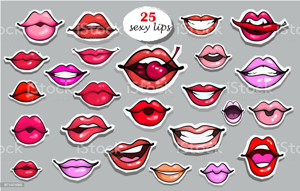 25 Red Lips Sticker Collection Illustration Isolated On Grey