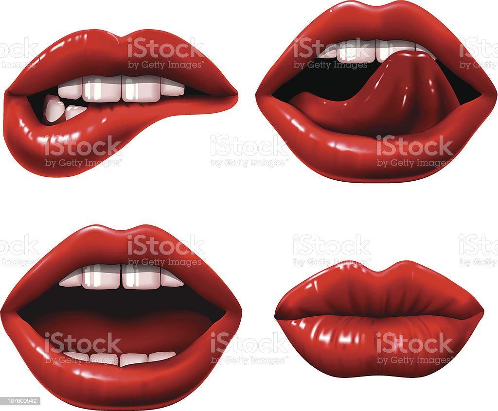 Red Lips vector art illustration