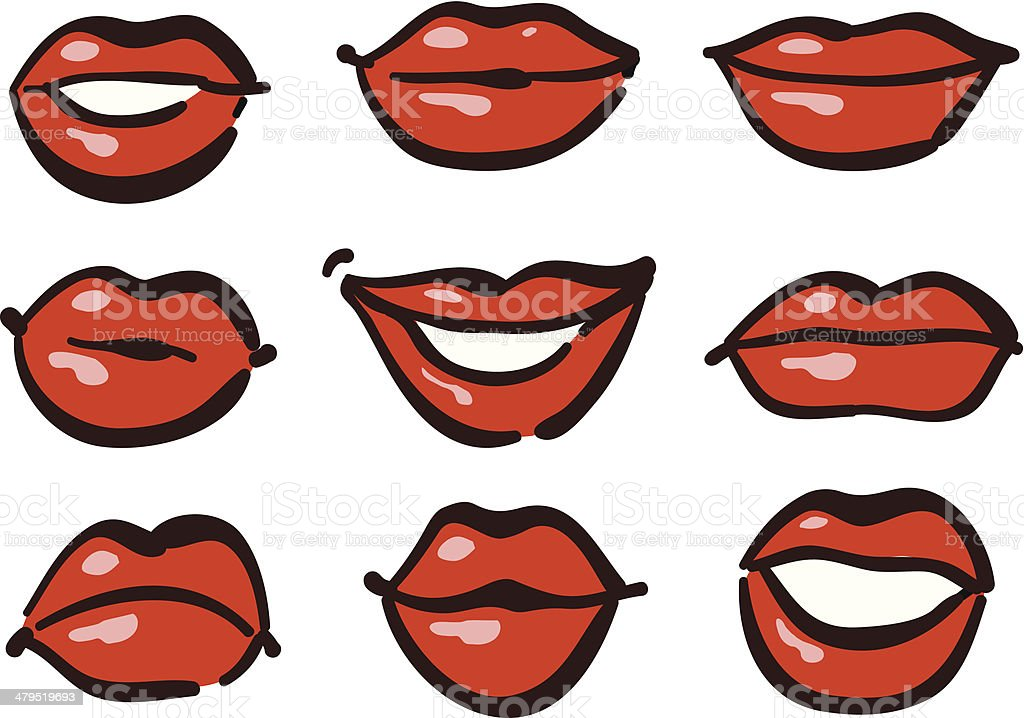 Red lips royalty-free stock vector art