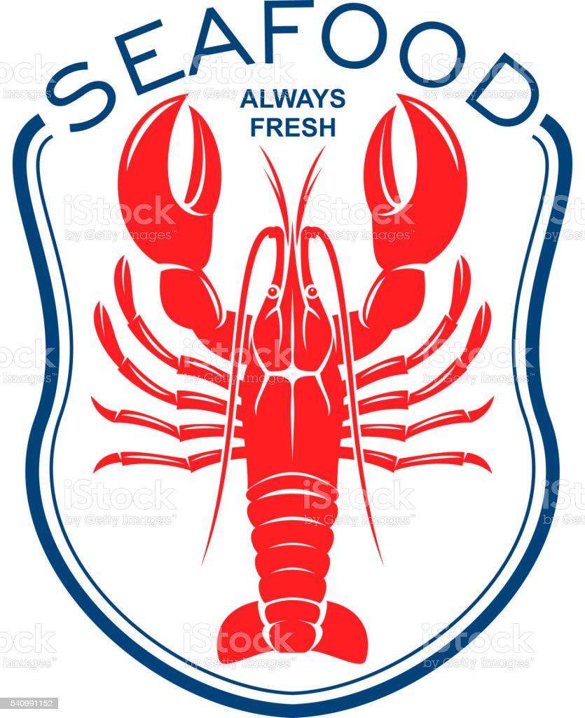 Red lobster icon for seafood restaurant design vector art illustration