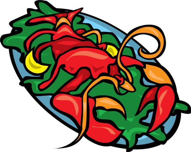 Red lobster on a plate of greens vector art illustration