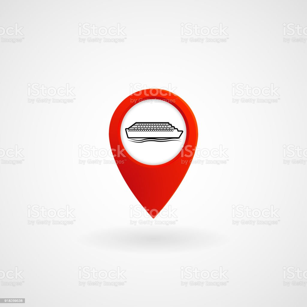 Red Location Icon for Ferry, Vector vector art illustration