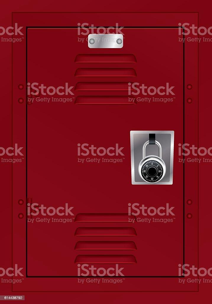 Red Locker and Combination Lock Illustration vector art illustration