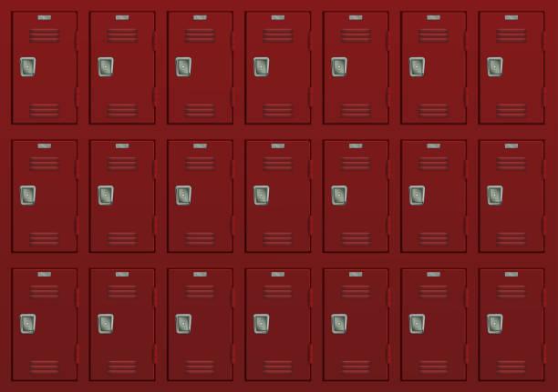 紅色儲物櫃健身房或學校傢俱向量藝術插圖