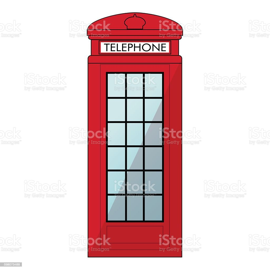 Red London Phone booth. Isolated on white background vector art illustration