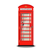 Red London telephone booth, isolated on white backgound. Vector illustration, flat style.
