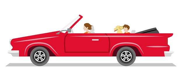 Red long convertible car ,side view - Mother, child, dog seated