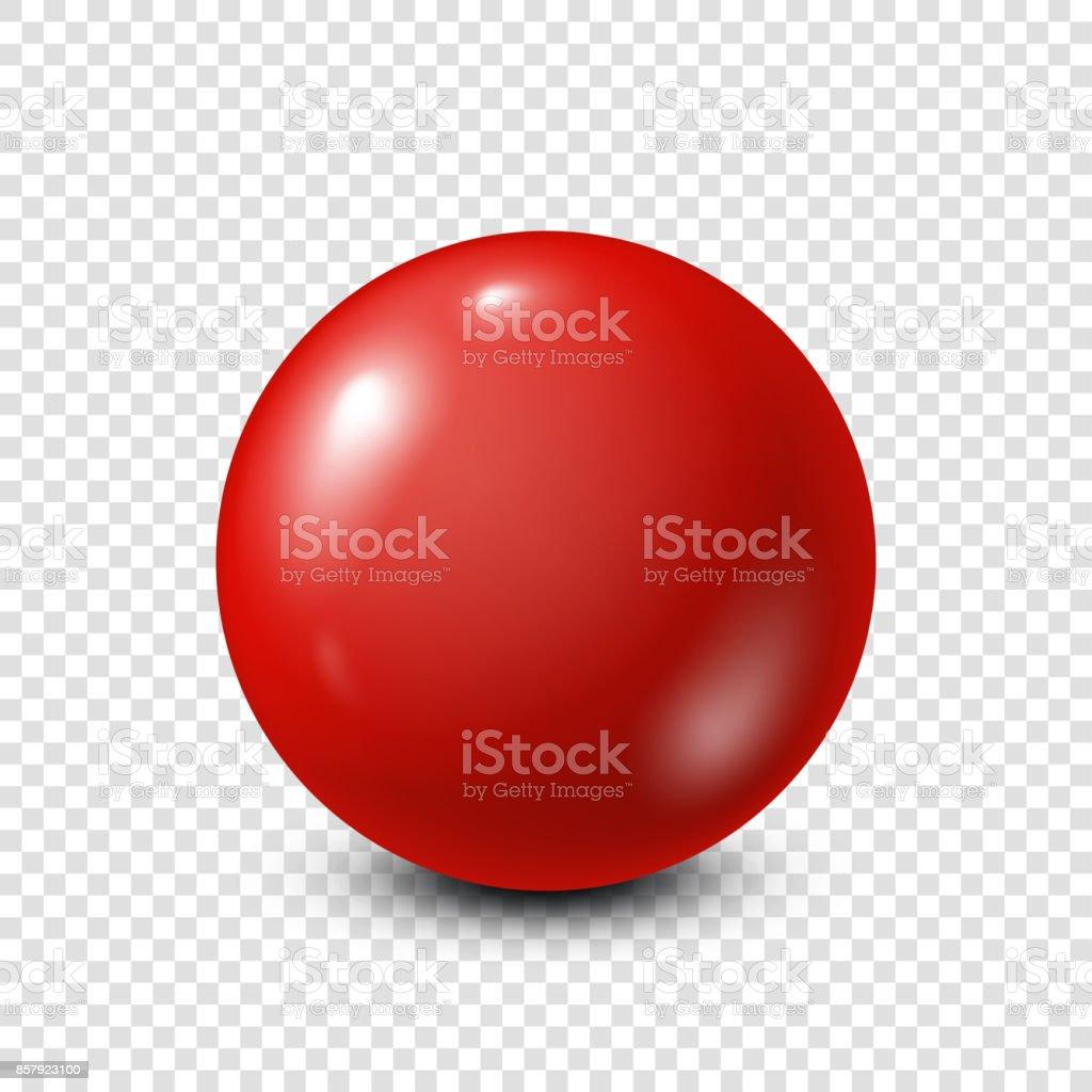 Red lottery, billiard,pool ball. Snooker. Transparent background. Vector illustration vector art illustration