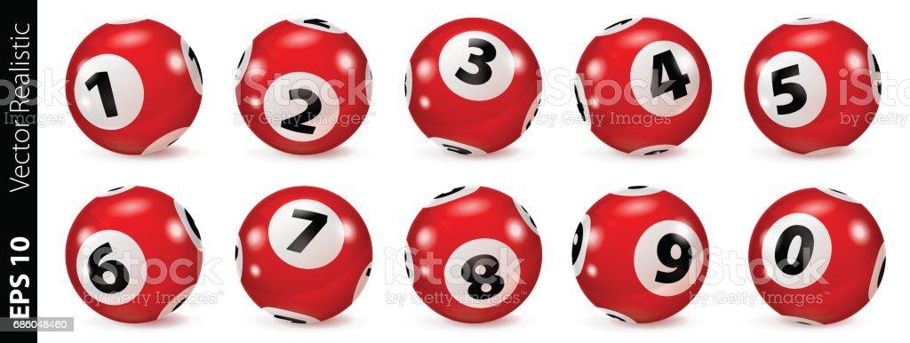Bolas de lotería rojo número aislados - ilustración de arte vectorial