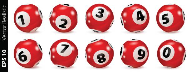 Red lottery number balls isolated Lottery Number Balls. Bingo balls set. Bingo balls with numbers. Set of red balls. Realistic vector. Lotto concept. Red Bingo Ball. bonus march stock illustrations