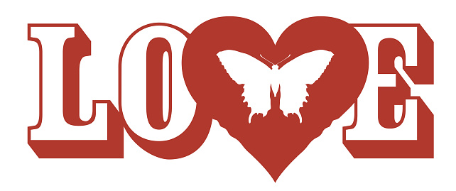 red love lettering with heart and butterfly