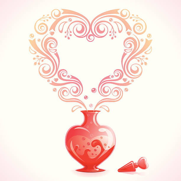 A red love potion bottle and a white background An open bottle of Love Potion. Room for your text. love potion stock illustrations