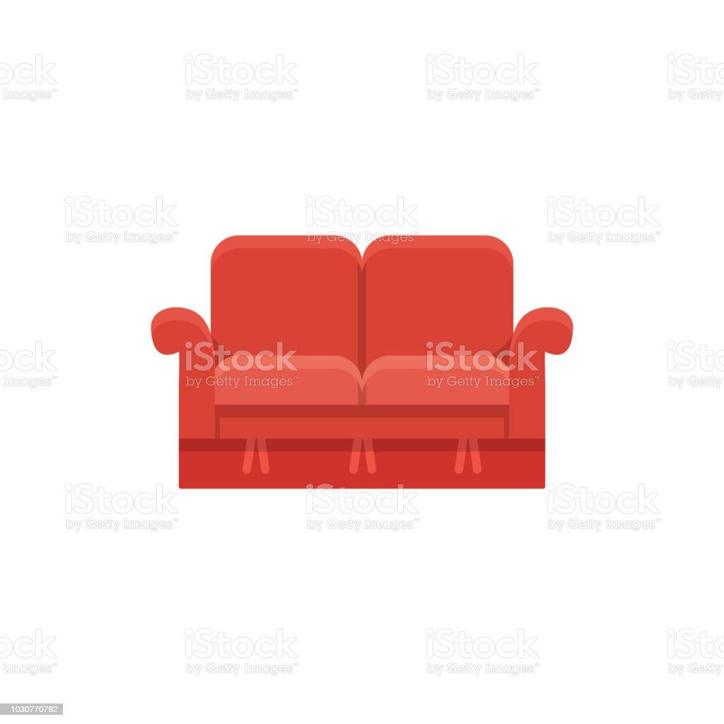 Rood Tweezits Bankje.Rode Loveseat Dubbele Bank Vectorillustratie Platte Icoon Van