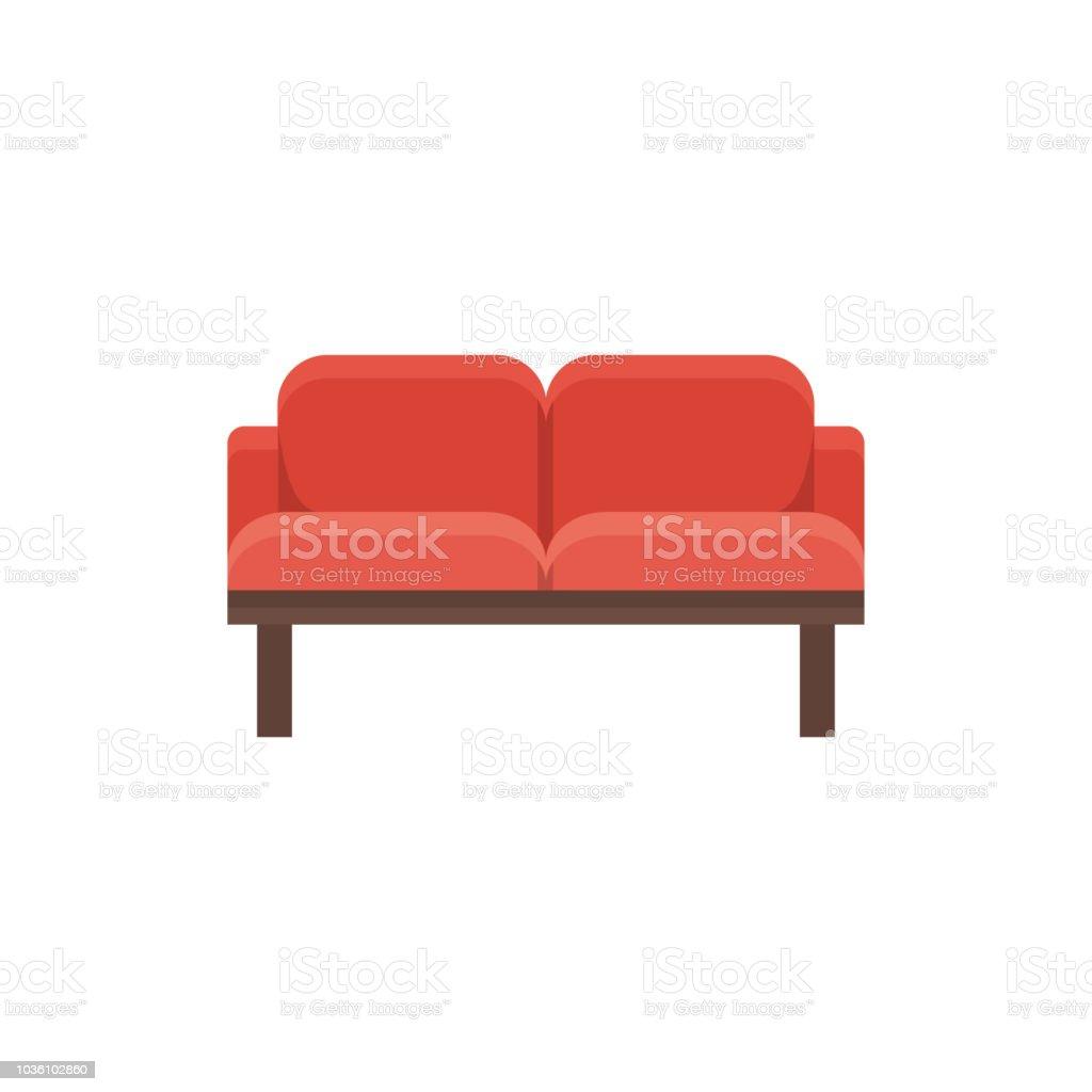 Brilliant Red Loveseat Double Sofa Vector Illustration Flat Icon Of Evergreenethics Interior Chair Design Evergreenethicsorg